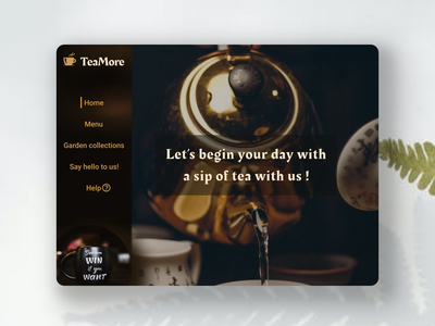 TeaMore web app design landingpage landing page typography webapp design webapp concept design uidesigner uidesign uiuxdesign tea concept website app minimal minimalist flat web ui figma design