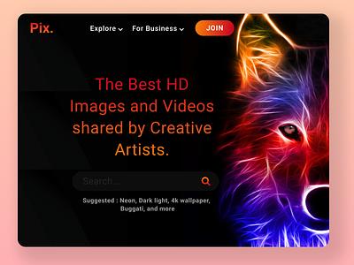 Pix Web App Concept ux flat figma concept creative images graphics minimal website uidesign ui web design webapp