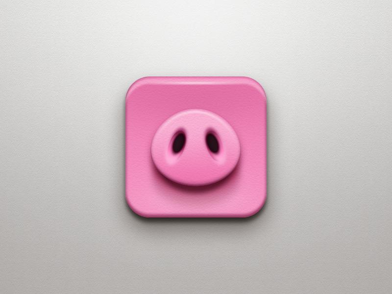 Piggy pig pink icon app texture photoshop simple