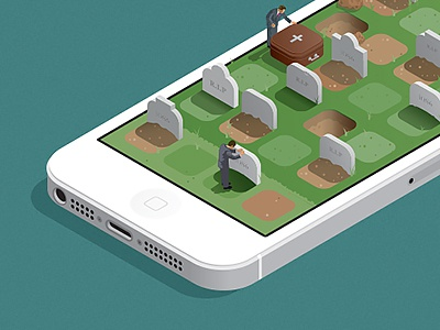 iOS6 RIP illustration vector iphone iphone5 ios6 icon graveyard tombstone rip isometric