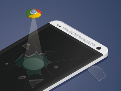 Icon escape google chrome icon htc illustration ufo smash glass isometric