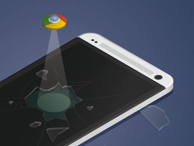 Icon escape google chrome icon htc illustration ufo smash glass isometric