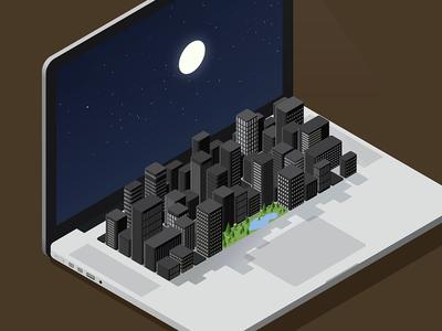 Laptop City illustration vector laptop macbook city buildings isometric park night moon stars