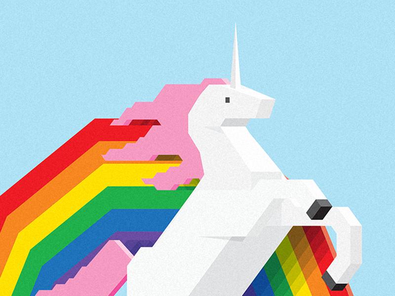 Simple Unicorn happiness simple blocks geometric 3d illustration vector rainbow unicorn