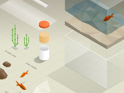 Aquarium Exploded aquarium fish fish tank technical vector exploded illustration isometric 3d grid