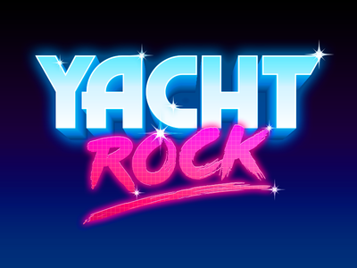 Yacht Rock logo type gradient logo type cheesy sparkle vector typography 80s