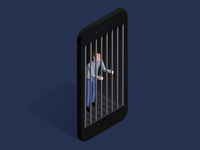 Help isometric prisoner drawing illustration iphone vector