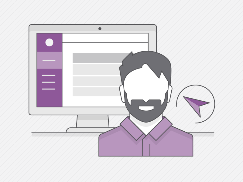 Demo Illustration purple beard subscription recurly ui request a demo demo man