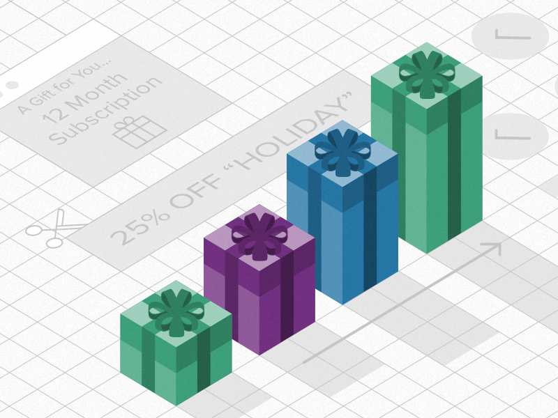 Holiday Revenue  saas recurly growth revenue discounts holiday presents bar graph coupons isometric grid isometric