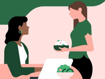 Uber business eats illustration office employees meals delivery eats uber uber for business b2b enterprise