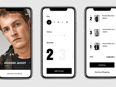 Massimo Dutti Mobile icon interface pic designe aftereffect colors black typography art slide picture interaction web ux ui design