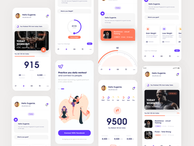 Well Fitness App concept minimal type flat icon app vector colors web art typography slide pic interface designe interaction picture ux ui design