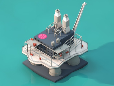 Drilling Rig debut 3d isometric drilling rig minimalistic modeling clean