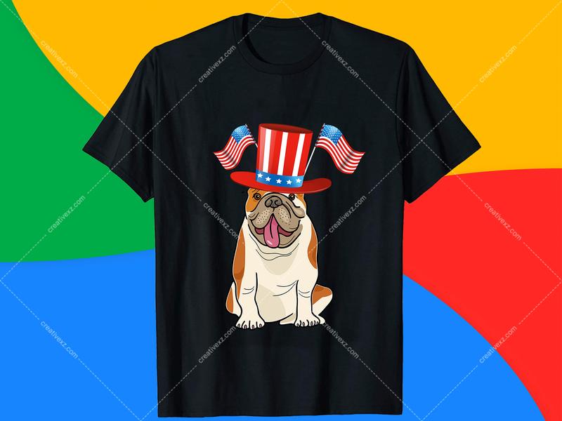4th July Pug Dog T-Shirt Design Free Download - Hello Dribbble