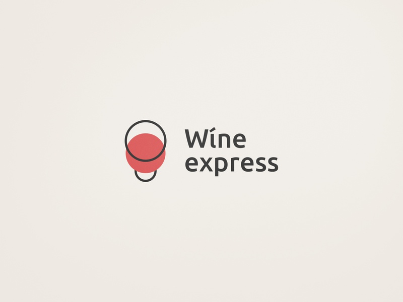 Wine Express design logo identity clear flat branding
