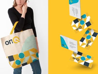 Turning on the collateral. It's Q. colorful yellow pattern design pattern identity design branding design branding