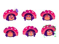 Mushroom girl facial expressions