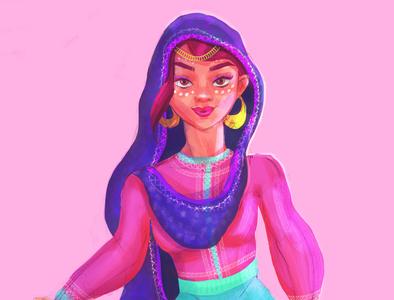 Arabian princess female sketching drawing illustration design illustraion character design