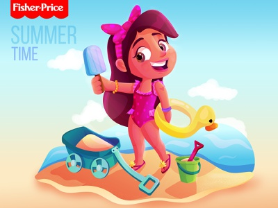 Fisherprice summer time artwork illustrator children vector animation cartoon illustration design illustraion character design