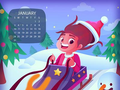 happy new year calendar christmas year new calendar kid vector artwork illustrator children cartoon illustraion design character design