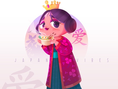 Japanese queen new artwork vector illustration cartoon design illustraion character design
