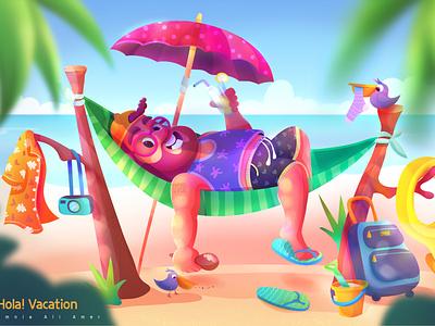 Hola ! Vacation animation vector cartoon illustration illustraion design character design