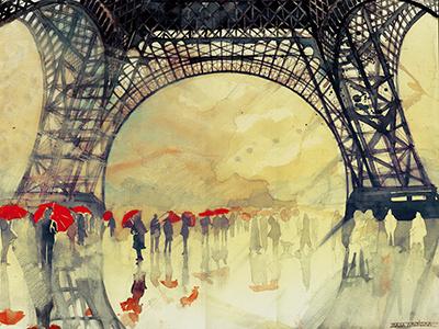 Winter in Paris paris winter majawronska architect watercolor painting drawing umbrellas