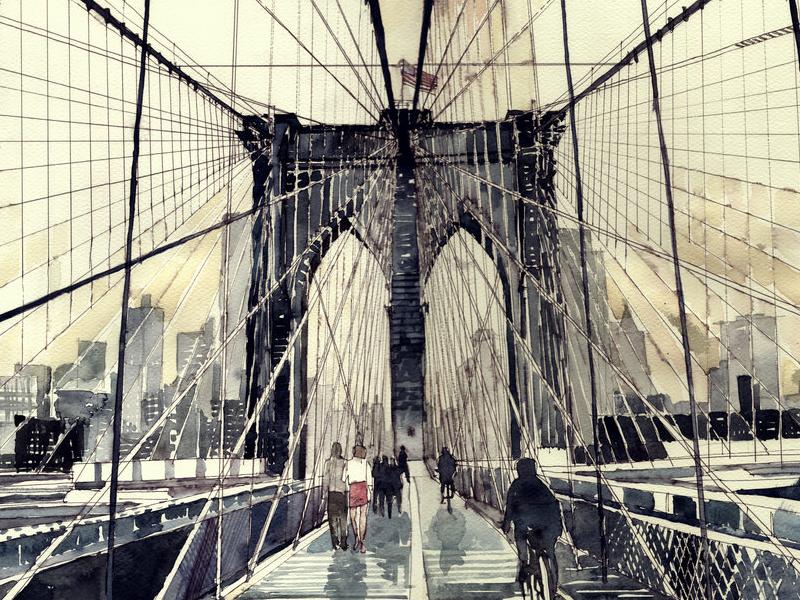 Brooklyn Bridge brooklyn bridge ny nyc watercolor artwork illustration bridge blue