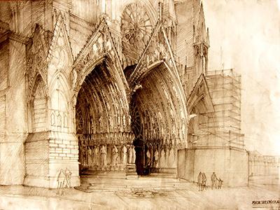 Reims reims drawing architecture portals doors door church