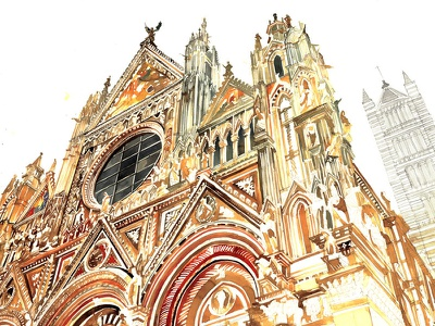 Siena siena watercolor italy architecture drawing free hand drawing sketch architect