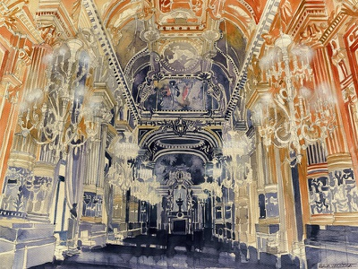 opera de Paris watercolor watercolour architectural watercolor painting awesome interior france