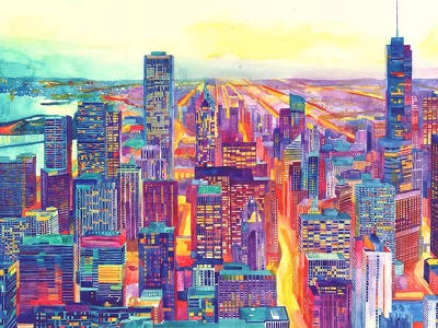 Chicago illustration architectural watercolor architecture skyline artwork painting art watercolour watercolor chicago