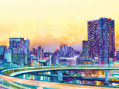 Tokyo modern city watercolour skyline painting illustration chicago artwork art architecture watercolor architectural