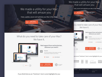 Landing Page utility support flat web landing mac protection secure macbook clean ui responsive