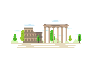 Illustration Rome ball rome illustration infographica colosseum trees clouds city town buildings boccia