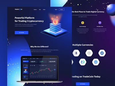 Concept Landing - Cryptocurrency web ux ui landing wallet trading trade money interface design cryptocurrency bitcoin
