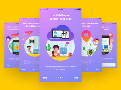 Onboarding - Healthcare Collaboration Network character hospital medical visual ui app healthcare doctor illustration onboarding mobile ios