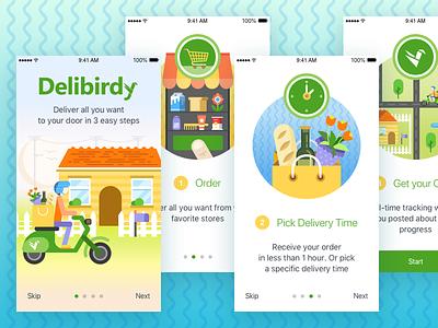 Onboarding - Delivery App food mobile shop cart scooter order illustration visual ui onboarding app delivery