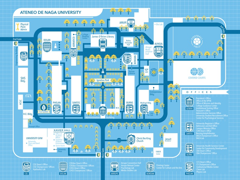 AdNU Orsem Map 2018 maps map cartography layoutdesign layout design layout vector illustration vector illustration digital illustration design illustration