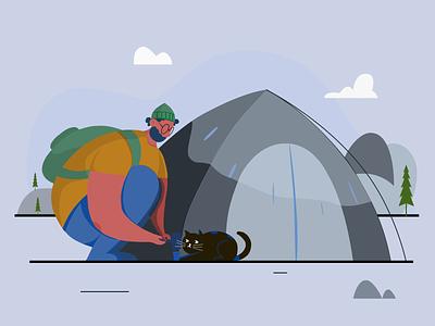 CAMPING vector рисунок boy camping illustration