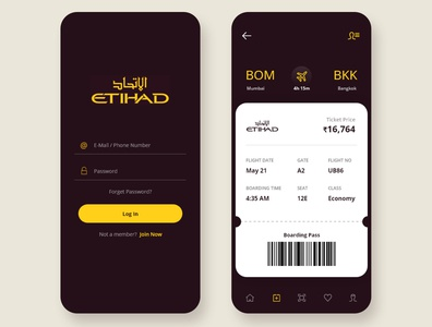 Airline app UI screen etihad ticket ticket booking ticket app login screen sign in login design login page login form airline airline app app flat ux ui minimal branding design