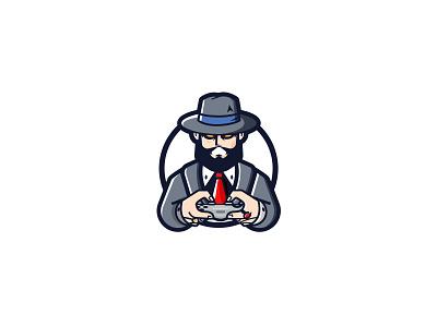 mafioso gamer mafioso mobs mafia console controller playstation play gaming logo gamer gaming game beard modern flat design mascot character vector illustration logo