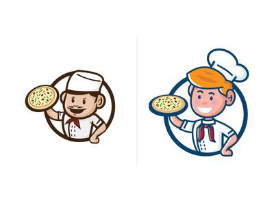 2014 Pizza vs 2017 Pizza food cook chef progress process work pizzeria italia mascot character pizza