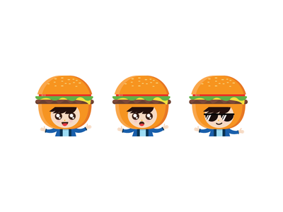 Burgerboy fast food cartoon character happy cute simple expression face icon mascot burger