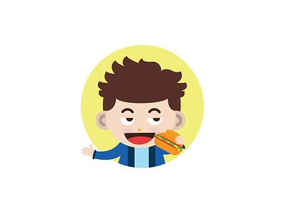 Burgerboy-2 simple mascot icon happy food fast face expression cute character cartoon burger