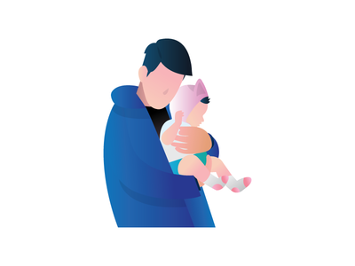 Me and Tayo work blue gradient illustration header baby flat design