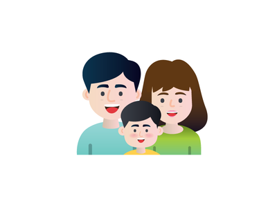 Family kid mom dad family work illustration header gradient flat design
