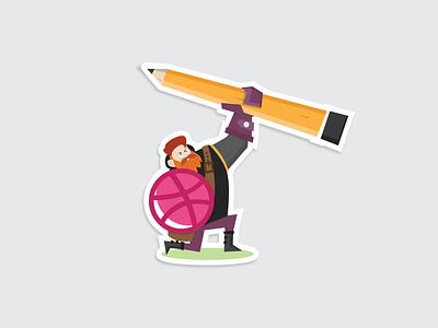 Dribbble is my weapon playoff weapon warrior sticker rebound pencil illustration flat dribbble