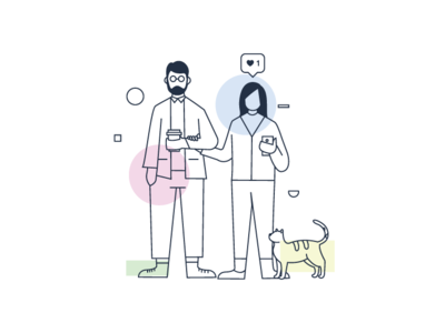 couple + cat character modern vector cute illustration coffee life lines simple couple cat