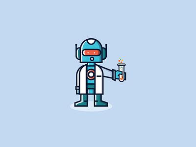 Scibo character mascot vector cute cyborg scientist warmup robot illustration icon dribbbleweeklywarmup